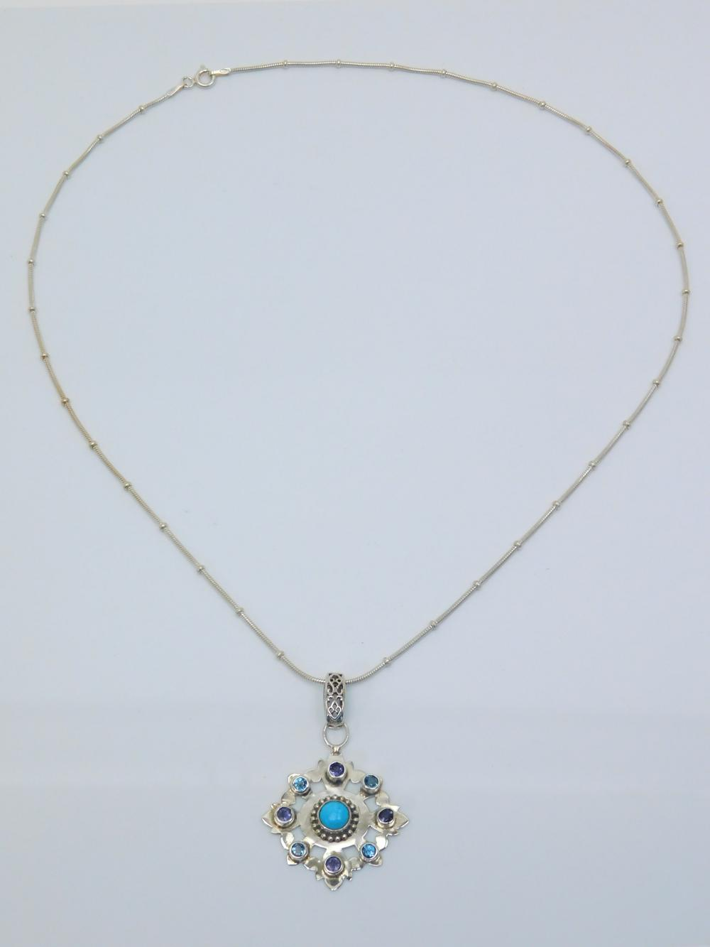 Sterling Silver Turquoise Amethyst Topaz Pendant On Suspended Bead Necklace 8.4G