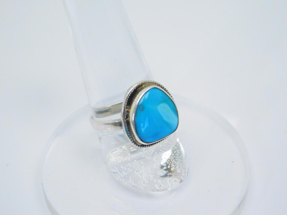 Southwestern Style Sterling Silver Turquoise Ring 3G Sz7.5