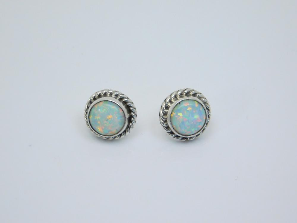 Native American Or Mexico Sterling Silver Opal Post Earrings 2.5G