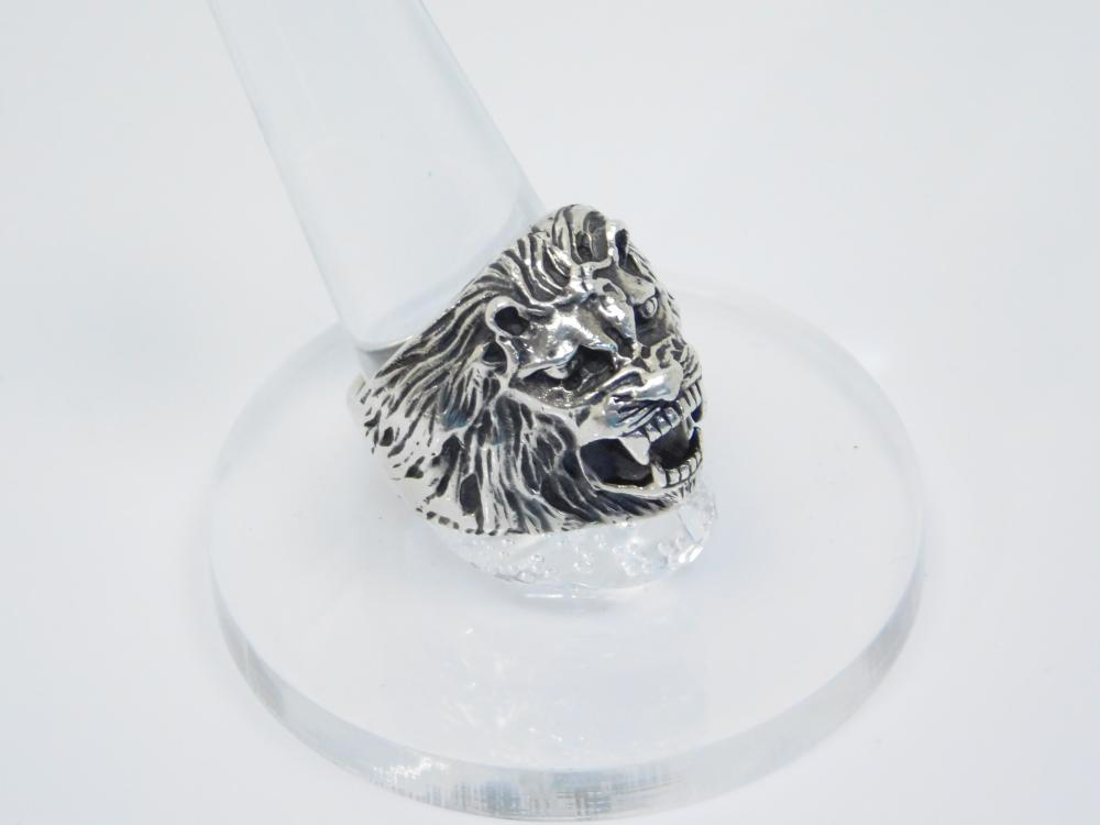 Mens Sterling Silver 3D Teeth Bearing 3D Roaring Lion Head Ring 18.8G Sz9.5