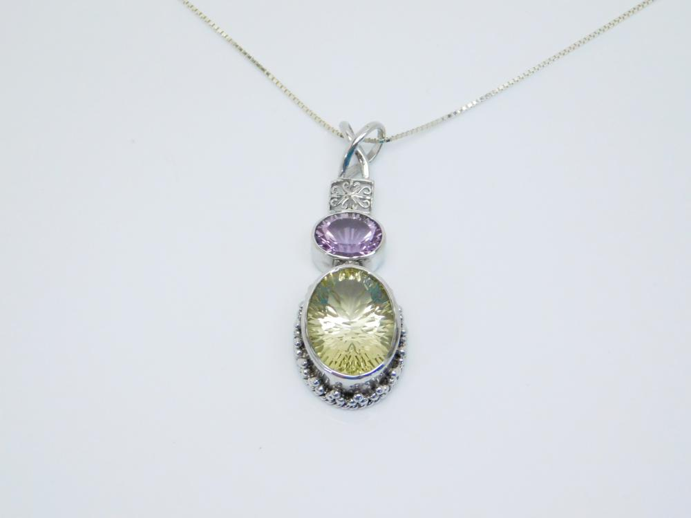 Sterling Silver Faceted Citrine Amethyst Hinged Fashion Pendant Necklace 13.5G