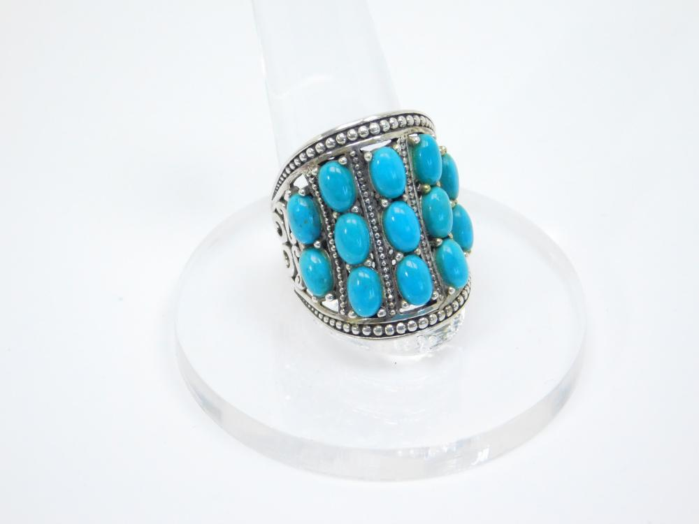 Thailand Sterling Silver Nf Turquoise Cluster Incised Ring 10G Sz9