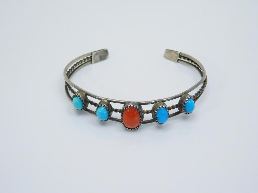 Vintage Native American  Sterling Silver Turquoise Coral Cuff Bracelet 8.4G