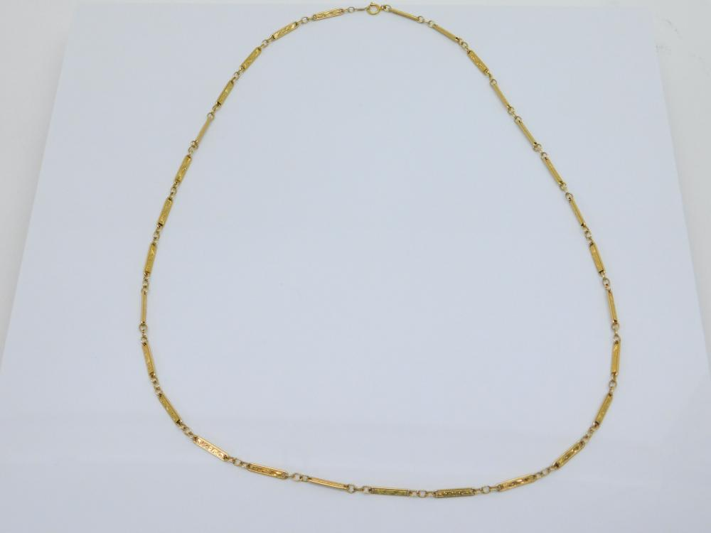 """14Kt Gold Elgin Watch Fob Scrolled Bar Chain Style 23.5"""" Necklace 14.1G"""