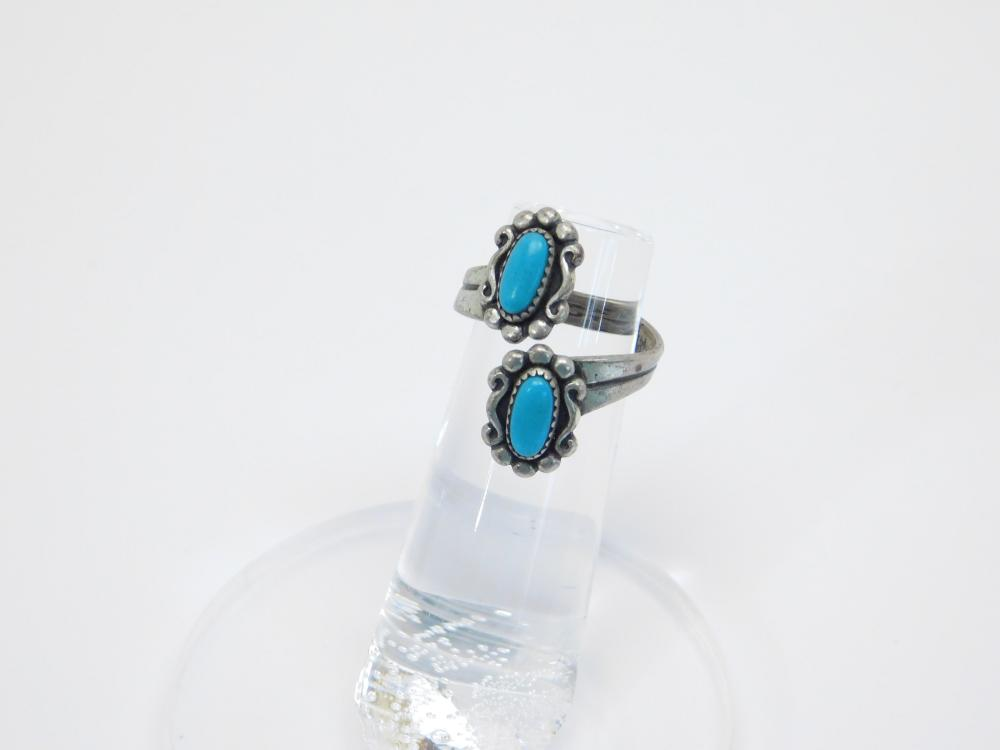 Vintage Bell Trading Post Sterling Silver Turquoise Bypass Ring 3.7G Sz5