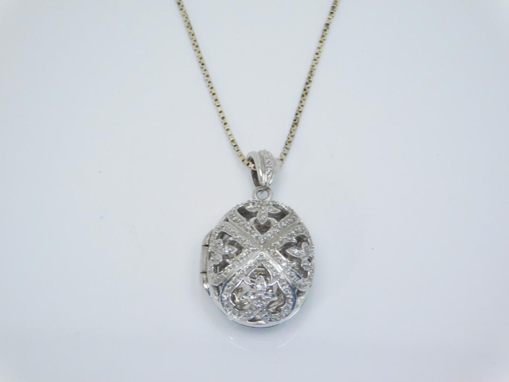 2003 Sts Sterling Silver Diamond Chip Locket Pendant Necklace 13.7G