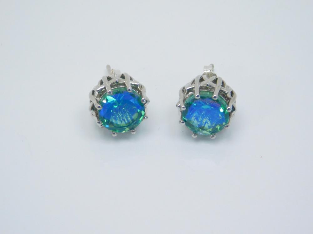 Sterling Silver Faceted Blue Green Art Glass Post Earrings 4.9G