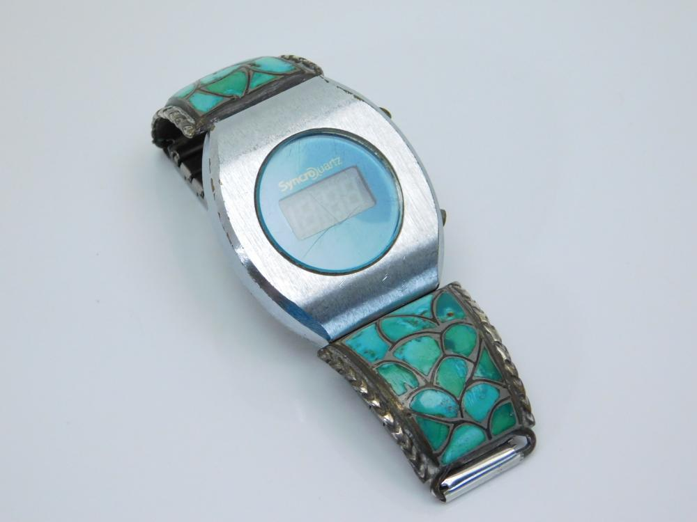 Vintage Native American Zuni Nickel Silver Turquoise Inlaid Watch Tips 79G