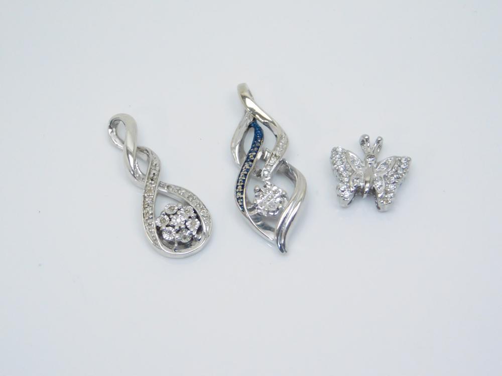 Lot Of 3 Sterling Silver Diamond Chip Butterfly & Drop Cluster Pendants 7.8G