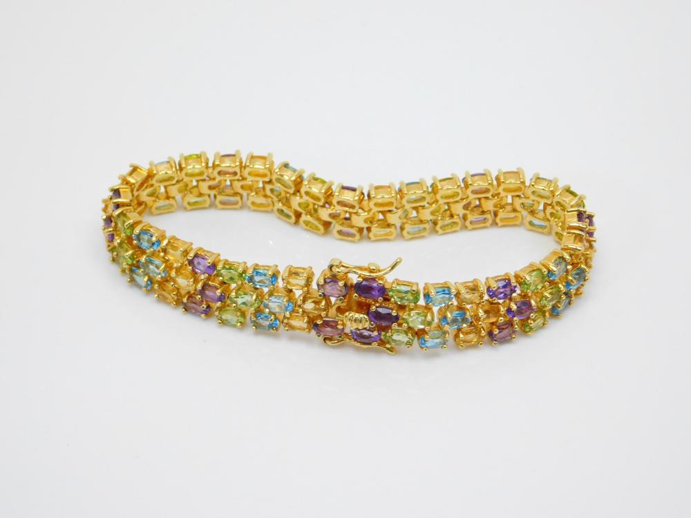 Dbj Thailand Goldtone Sterling Silver Multistone Cluster Fashion Bracelet 29G