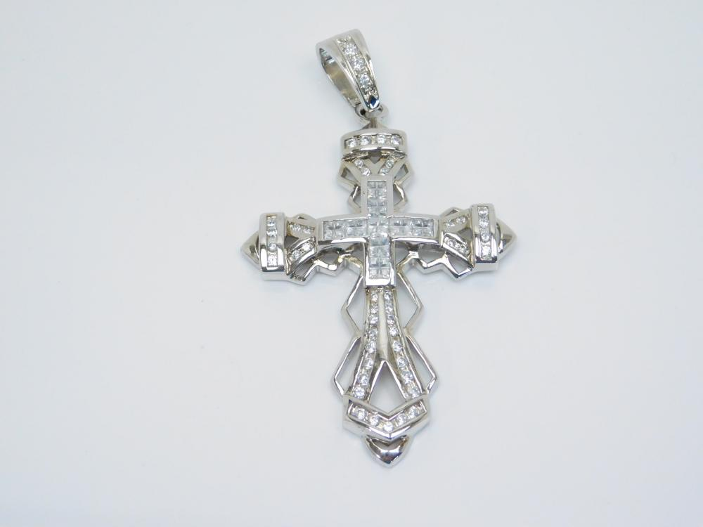 Rhodium Plated Sterling Silver Brilliant Cz Large Cross Pendant 31.6G