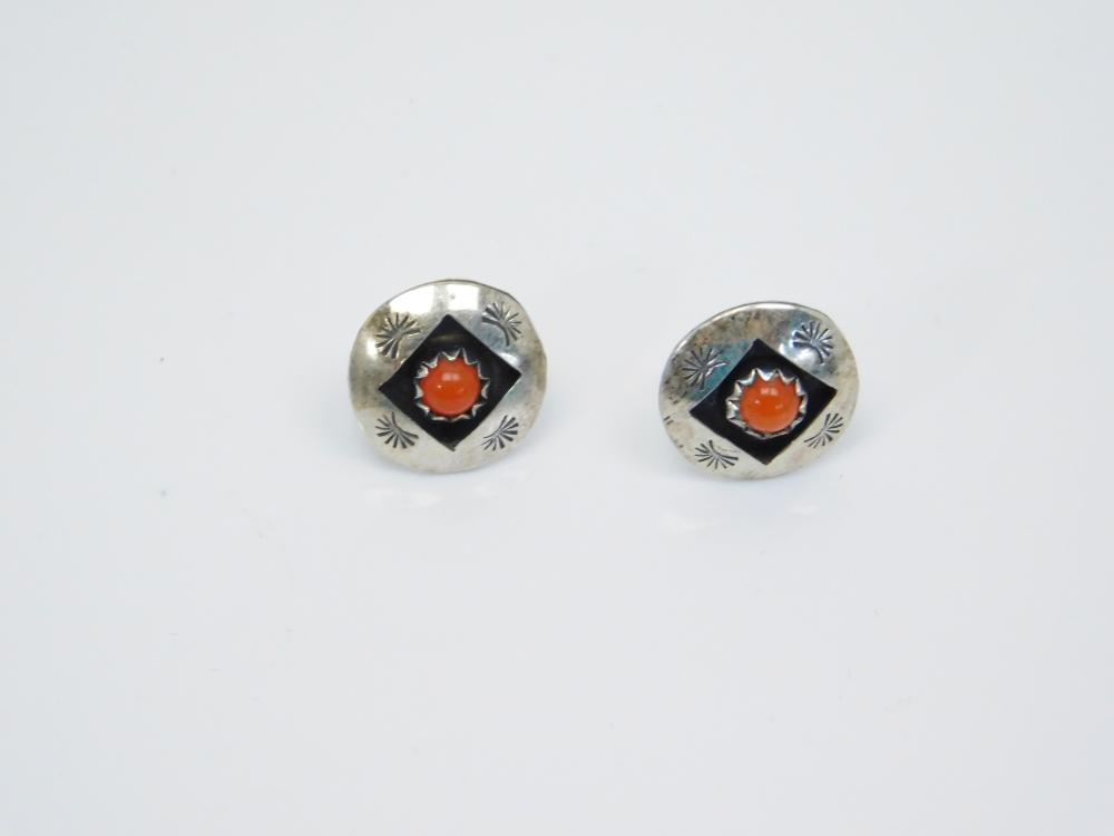 Vintage Native American Sterling Silver Shadowbox Coral Stamped Post Earrings