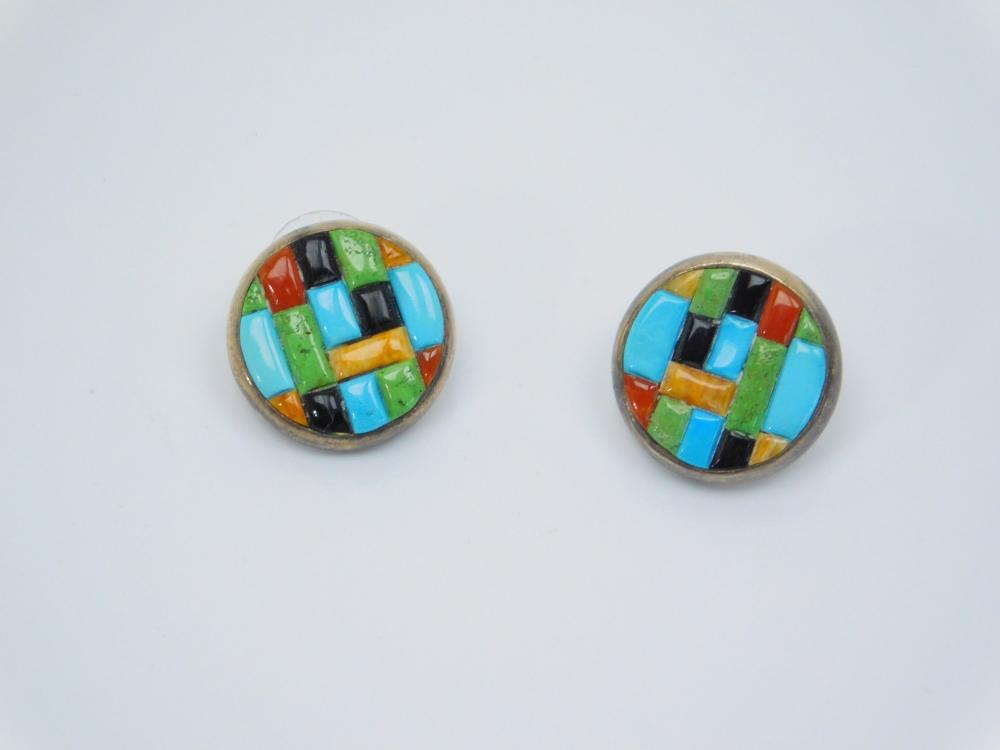 Native American Zuni Sterling Turquoise Red & Black Coral Gaspeite Spiny Oyster Brick Inlay Earrings 10.4G