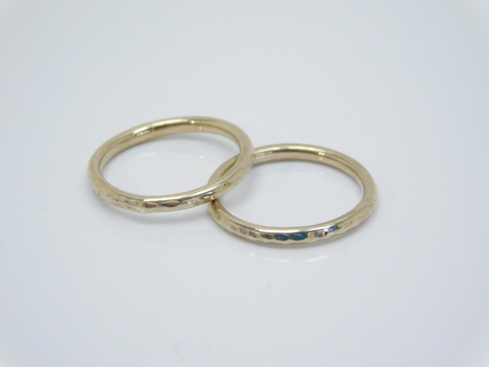 2 14Kt Gold Band Rings 0.75G Sz6.5