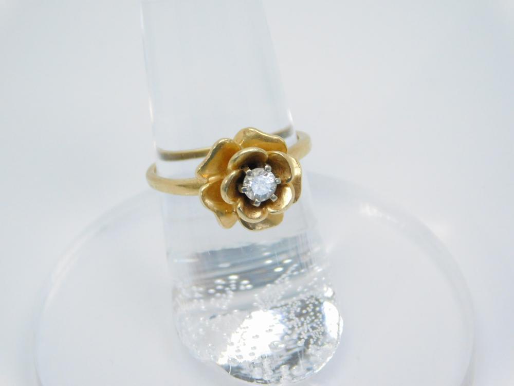 Vintage 14Kt Yellow Gold 1/4 Carat Diamond Flower Setting Ring 3.3G Sz6.25