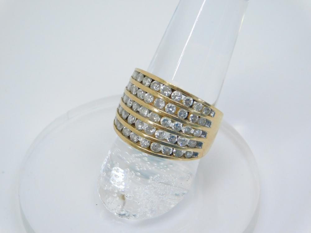 Vintage 10Kt Yellow Gold With 50 Channel Set Round Diamonds Fashion Ring 7.2G Sz7