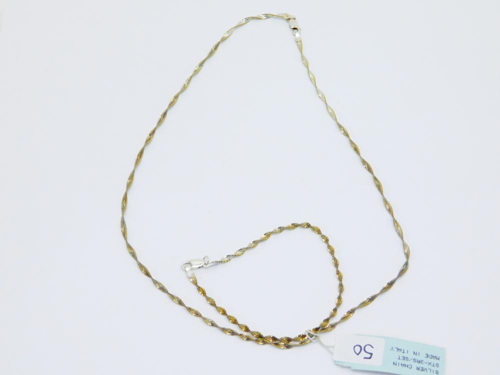 Italian Sterling Silver Twisted Herringbone Style Necklace & Bracelet Set 6G