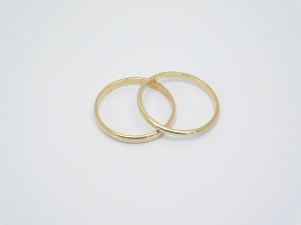 2 14K Yellow Gold Band Rings 2G Sz6