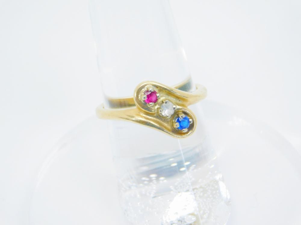 Vintage 10Kt Yellow Gold Ruby Diamond Sapphire Red White & Blue Ring 3.4G Sz6.5