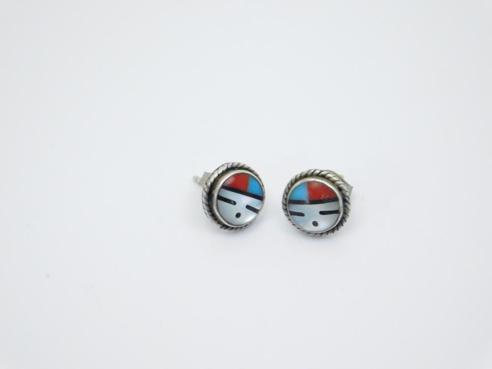 Vintage Native American Zuni Sterling Silver Multistone Sunface Post Earrings 1.8G