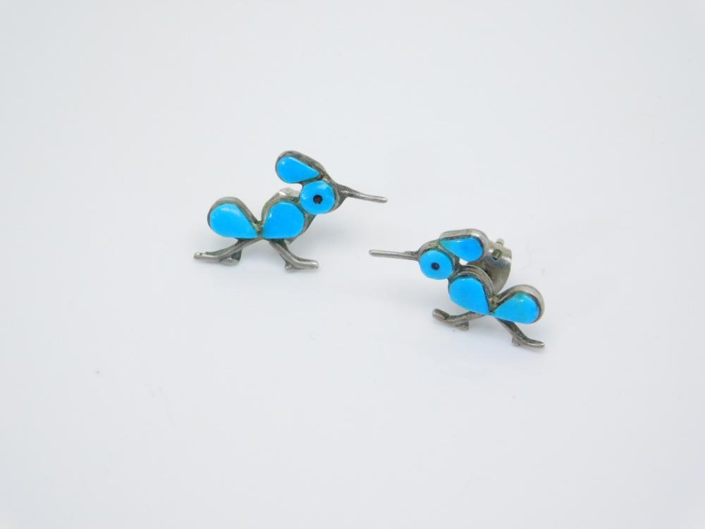 Vintage Native American Sterling Silver Turquoise Hummingbird Earrings 1.7G