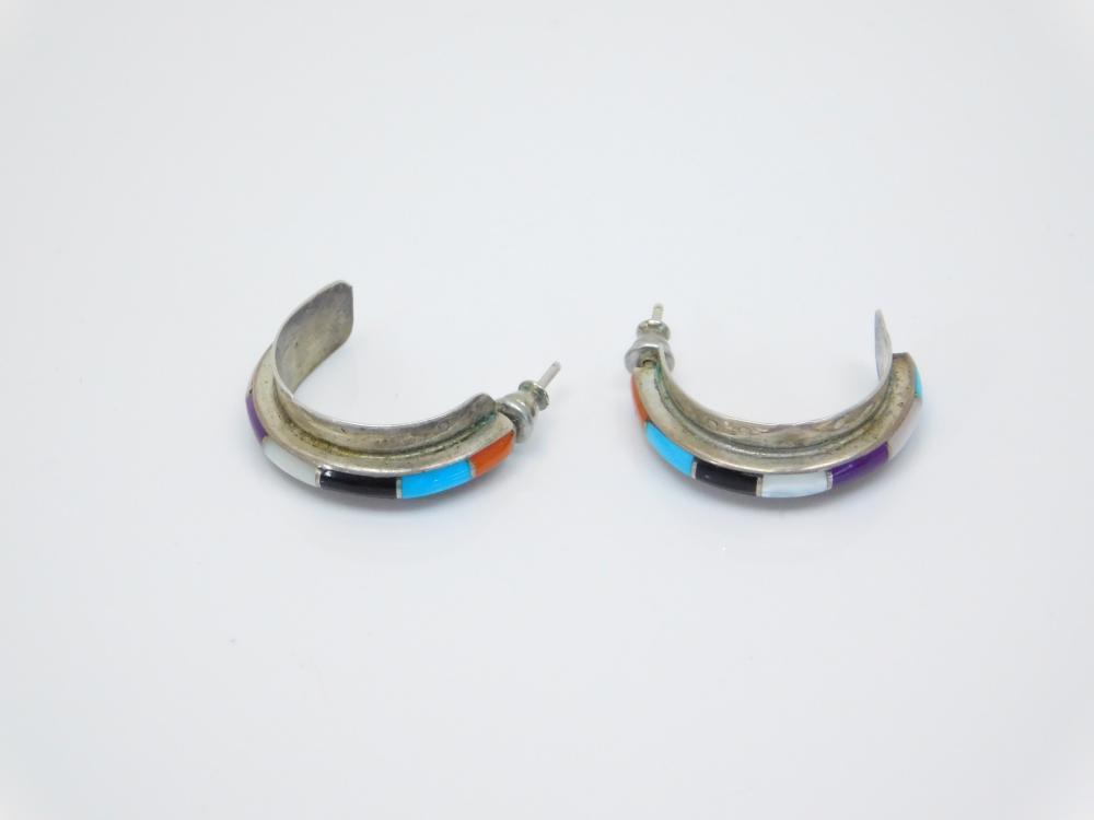Vintage Native American Zuni Sterling Silver Inlaid Multistone Half Hoop Dangle Earrings 5G