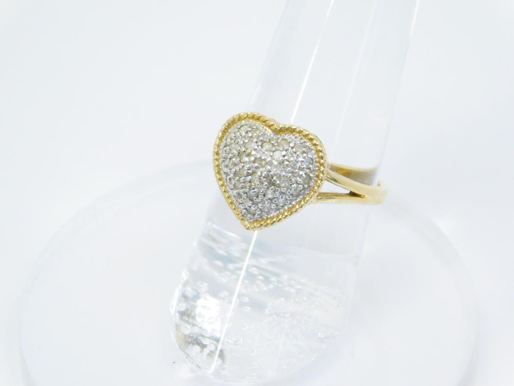 Vintage 10Kt Gold Heart Diamond Chip Cluster Ring 2.8G Sz6.5