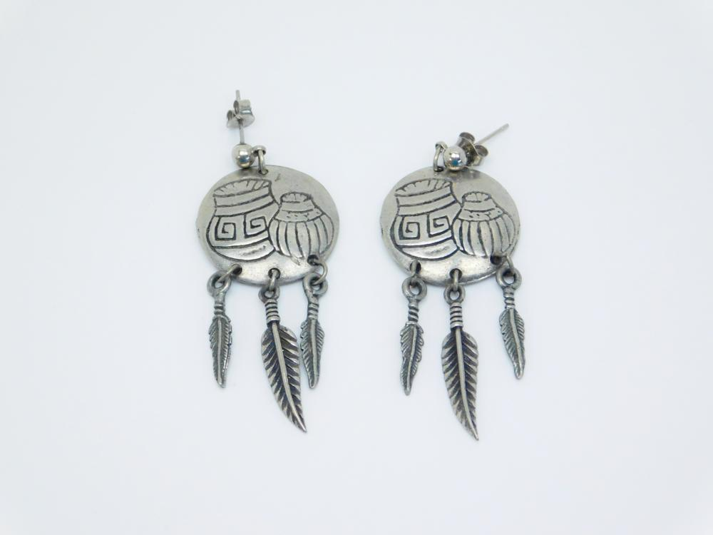 Costume Jewelry Native American Style Pottery Disc Feather Dangle Earrings