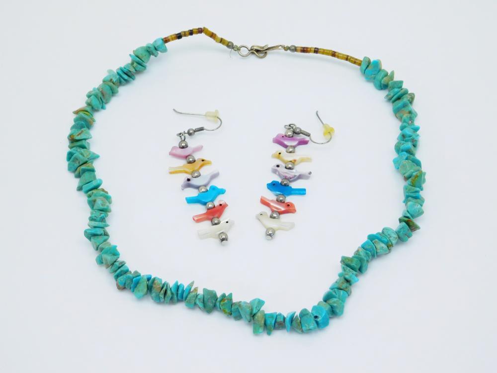 Native American Turquoise Shell Choker Necklace & Bird Fetish Bead Earrings