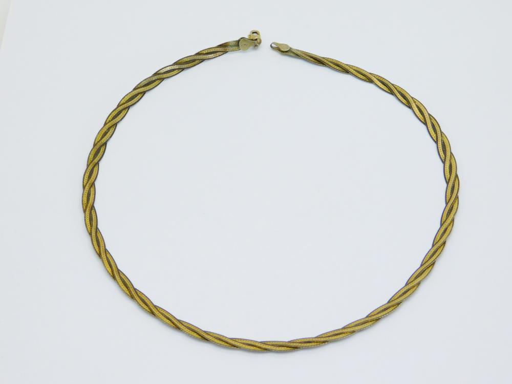Vintage Italian Sterling Silver Two Tone Braided Herringbone Necklace 13G