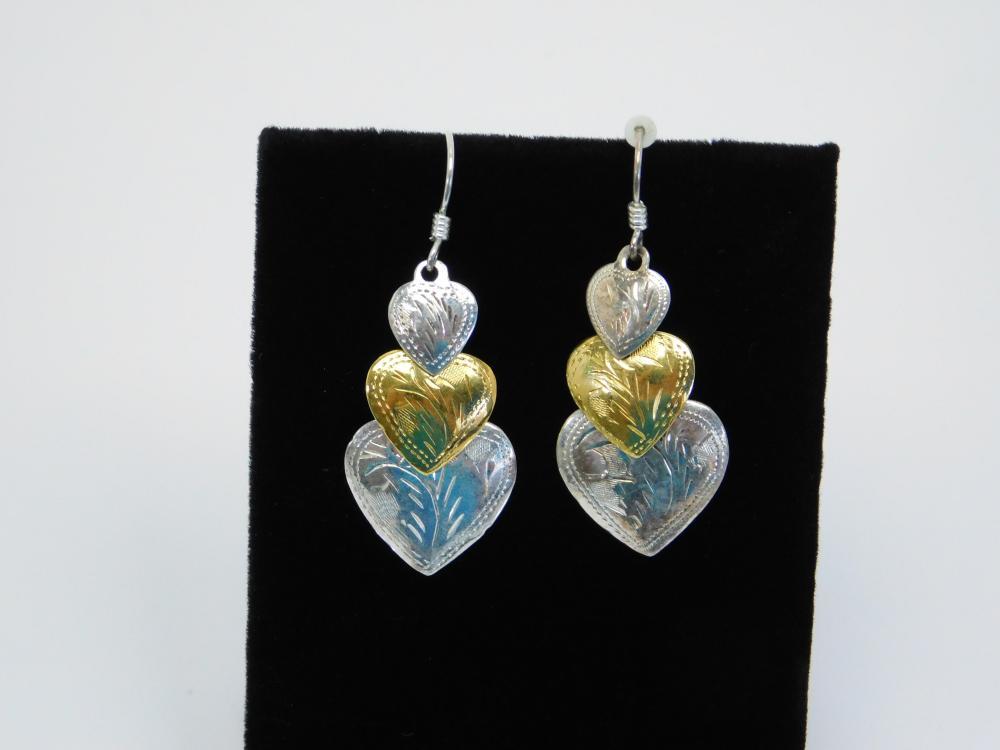 Su Southwestern Style Sterling Silver Heart Concho Dangle Earrings 3.5G