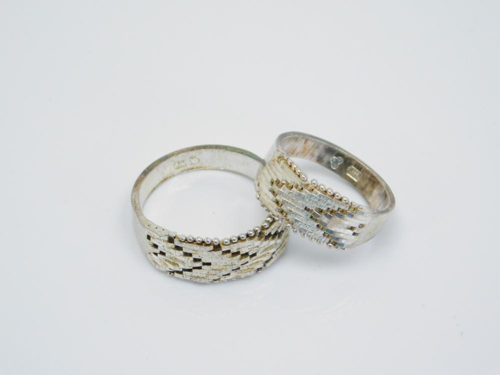 2 His & Hers Sterling Silver Riccio Chain Link Rings 8.3G Sz9.5&6.5