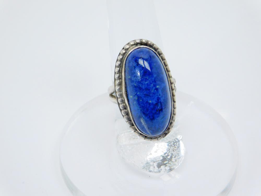 Southwestern Sterling Silver Blue Stone Ring 9G Sz7