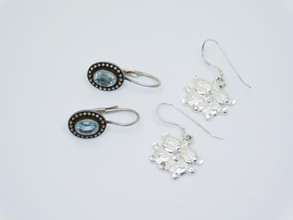 3Pr Sterling Silver Topaz & Teddy Bear Dangle Earrings 6.9G