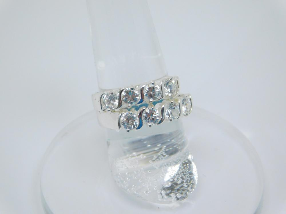 2 Sterling Silver Brilliant Cz Fashion Rings 6G Sz7