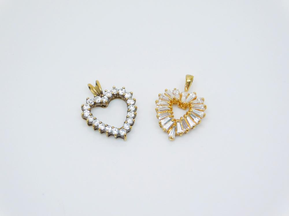 2 Goldtone Sterling Silver Brilliant Cz Heart Cluster Pendants 5G