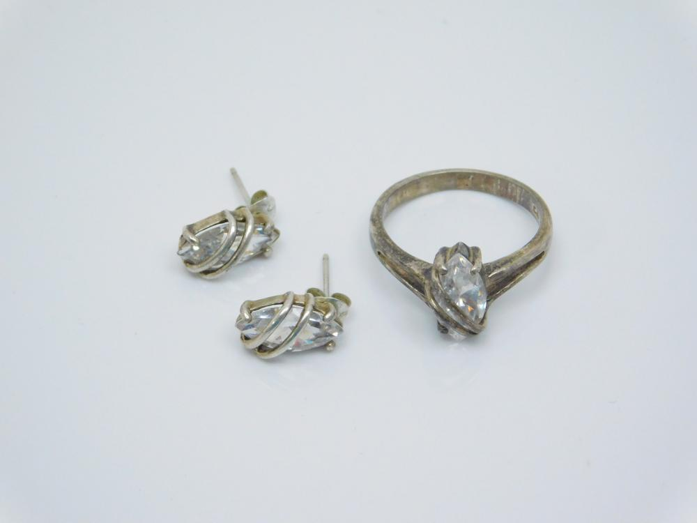 Sterling Silver Clear Cz Fashion Cocktail Ring & Earrings Set 6.4G Sz8
