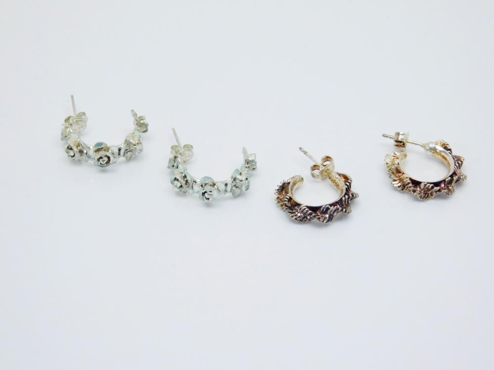 2Pr Sterling Silver Flower & Twisted Herringbone Half Hoop Earrings 8.5G