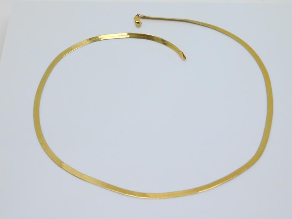 Vintage Goldtone Italian Sterling Silver Herringbone Necklace 12G