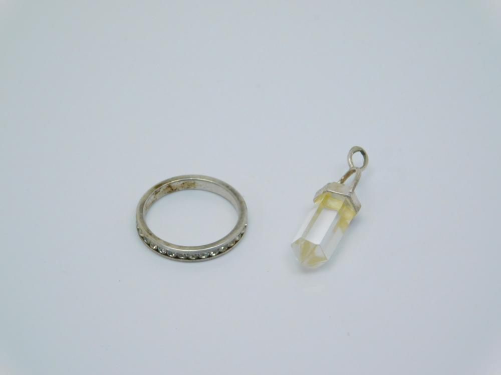 Sterling Silver Su Ring & Crystal Pendant 4.4G Sz7.75