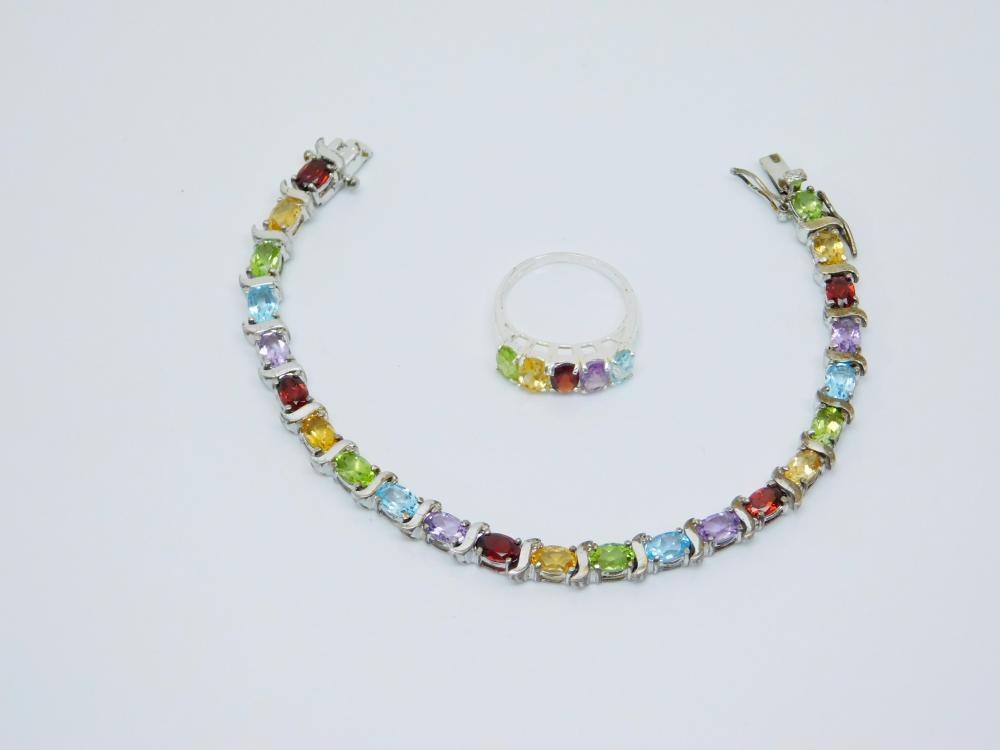 Han Thailand Sterling Silver Multistone Tennis Bracelet & Ring 18G Sz7.5