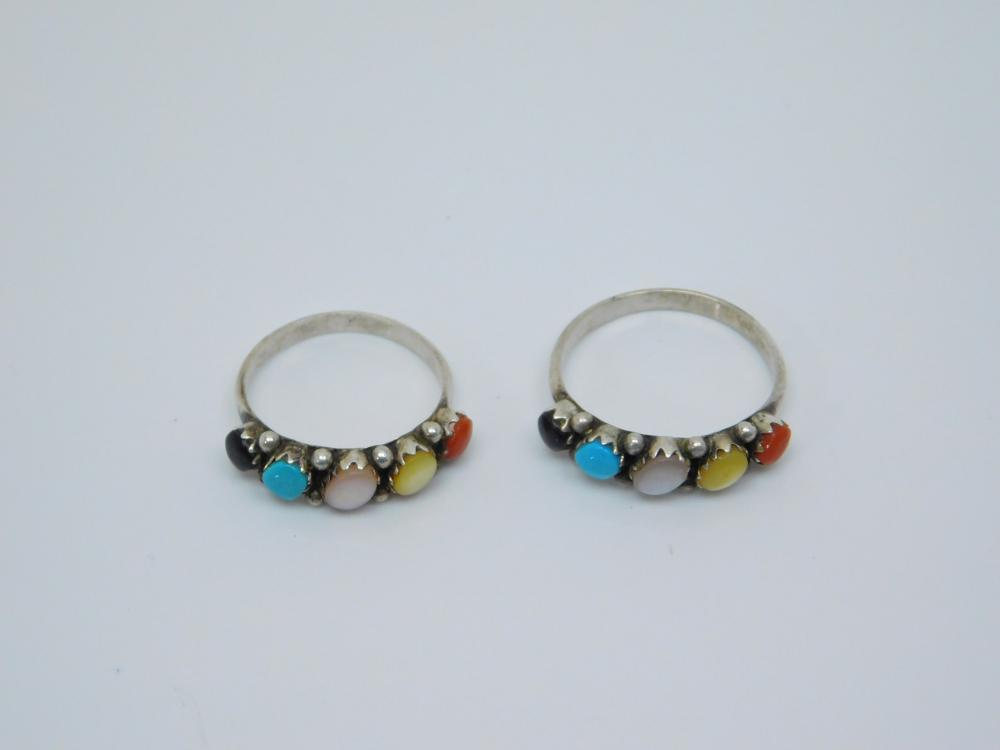 2 Southwestern Sterling Silver Turquoise Coral Mop Onyx Rings 4.3G Sz6.5&8