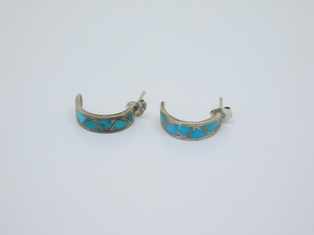Vintage Native American Sterling Silver Inlaid Turquoise Half Hoop Earrings 2.3G