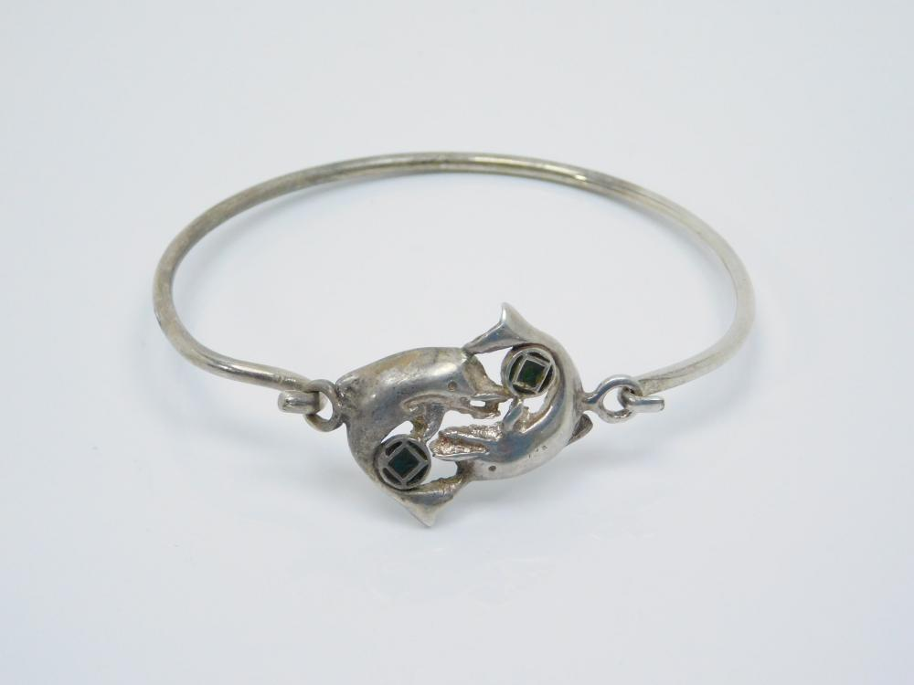 Sterling Silver Pair Of Dolphins Bracelet 14G