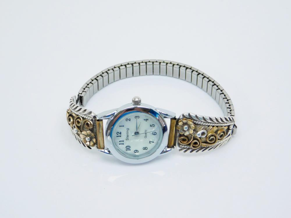 Vintage Native American Sterling Silver Squash Blossom Watch Tips Mop Face Watch 30G