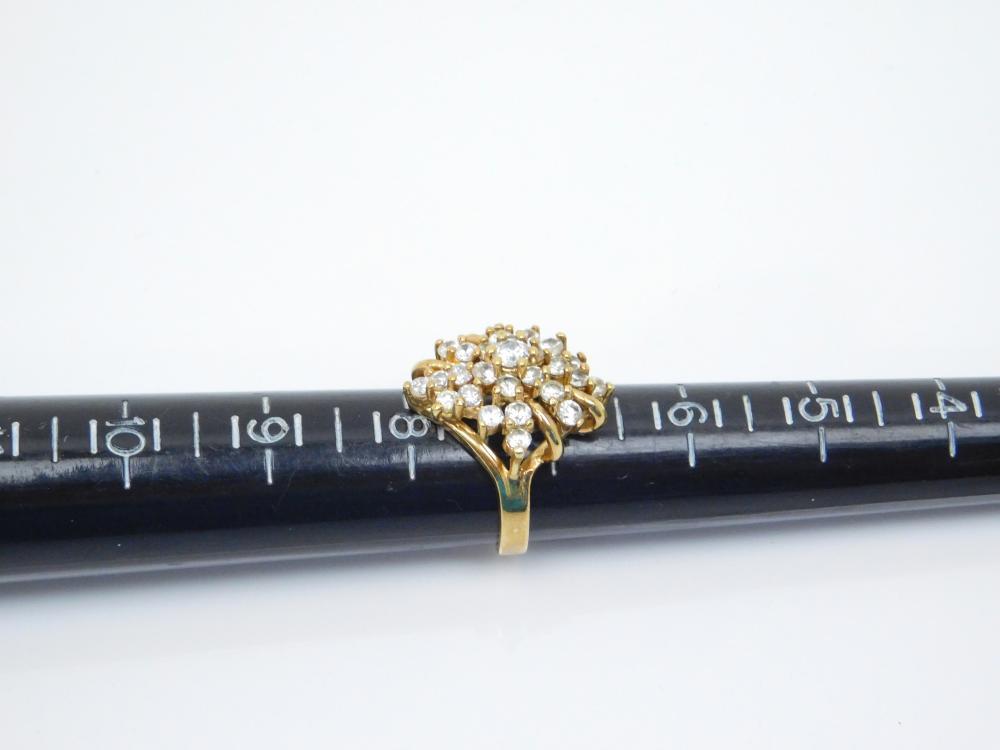 Goldtone Sterling Silver Brilliant Cz Cluster Fashion Ring 7.9G Sz7