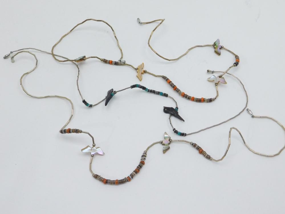 Lot Of 3 Vintage Native American Beaded Bird & Bat Fetish Mop Shell Necklaces