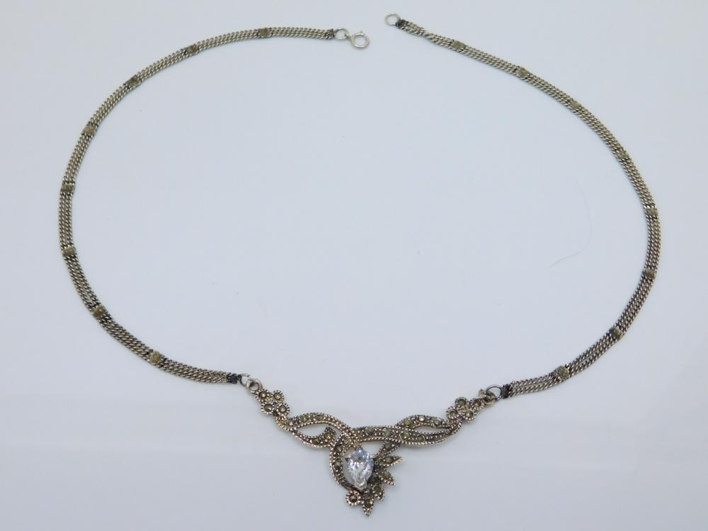 Vintage Sterling Silver Marcasite Cluster Crystal Bib Fashion Necklace 11.5G