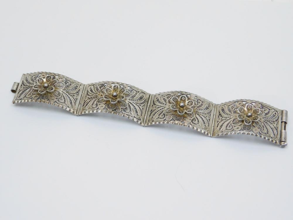 Vintage Mexico Sterling Silver Large Flower Filigree Panel Bracelet 44.5G