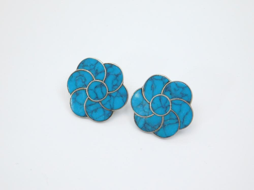 Vintage Taxco Mexico A Cazares Sterling Silver Inlaid Turquoise Earrings 9G